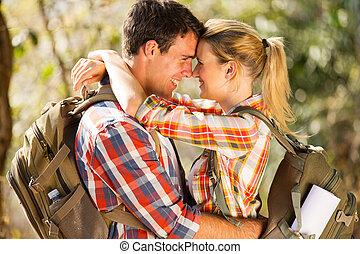 junges, romantische , zusammen, wandern