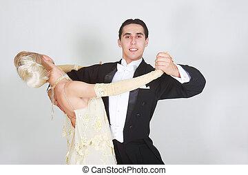 junges tanzen, aus, weißes