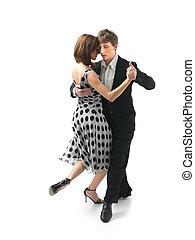 junges tanzen, der, tango, weißer hintergrund