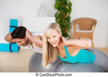 junges, trainieren, turnhalle