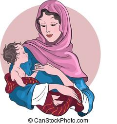 jungfrau maria, halten, jesuskind