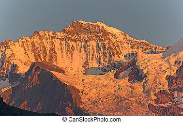 Jungfrau region - Jungfrau mountain in the swiss alps at the...
