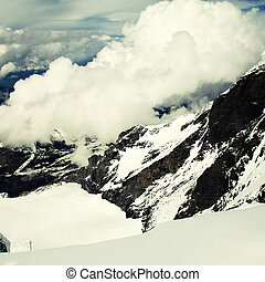 Jungfrau, Switzerland - View of Jungfrau with clouds,...