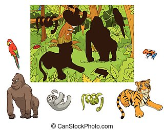 Jungle animals cartoon educational game vector - Jungle...