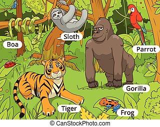 Jungle animals cartoon vector illustration - Jungle animals...