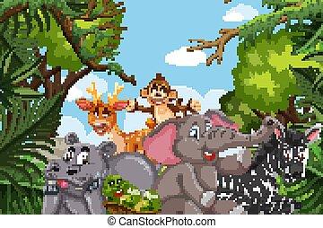 Jungle animals in nature scene