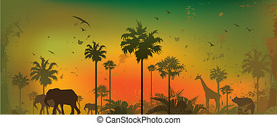 Jungle animals - Vector illustration of silhouettes of...