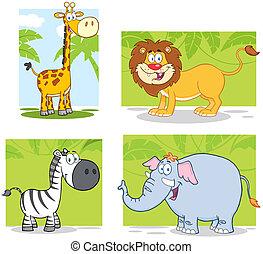 Jungle Animals With Background - Jungle Animals Cartoon...