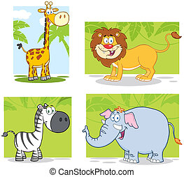 Jungle Animals With Background - Jungle Animals Cartoon...