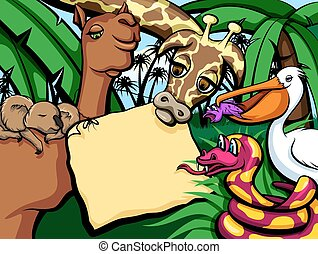 Jungle Animals with Sign