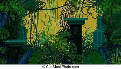 jungle, arrière-plan., ancien, abandonnés, nature