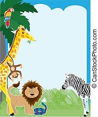Jungle Border - A jungle border design featuring a parrot,...