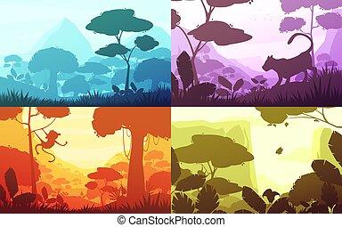 Jungle Cartoon Landscapes Set