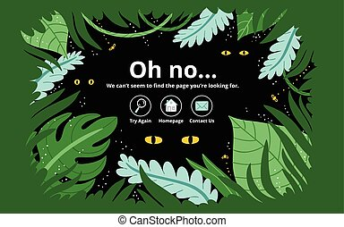 Jungle error page - Jungle 404 error page, vector template