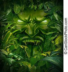 Jungle Fear - Jungle fear nightmare concept as a scary...