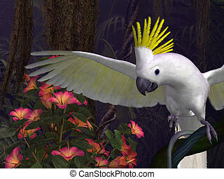 Jungle Fever - 3D-illustration of a cockatoo in a funny mood