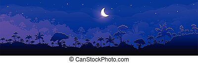 Jungle flat color vector illustration. Night forest scenery. Panoramic woods with cresent moon. Tropical scenic nature with moonlight. Rainforest 2D cartoon landscape with layers on background. ZIP file contains: EPS, JPG. If you are interested in custom design or want to make some adjustments to ...