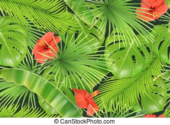 Jungle foliage seamless pattern. 3d vector realistic background