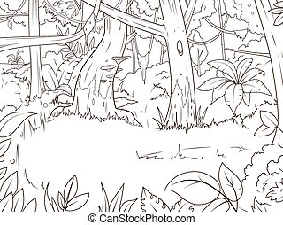 Jungle forest cartoon coloring book vector illustration
