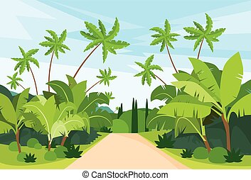 Jungle Forest Green Landscape with Road Path and Blue Sky Vector Illustration