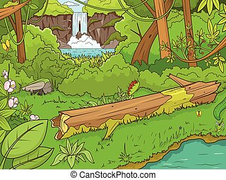 Jungle forest with waterfal cartoon vector illustration