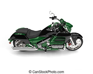 Jungle green modern powerful motorcycle - top down side view