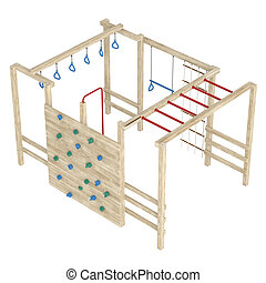 Jungle gym or climbing frame - Wooden jungle gym or climbing...