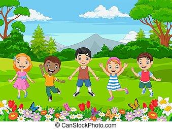 jungle, heureux, enfants, fond, sauter