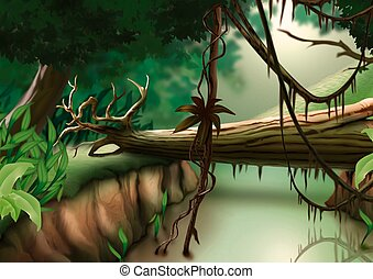 Jungle - Highly detailed cartoon background 31 -...