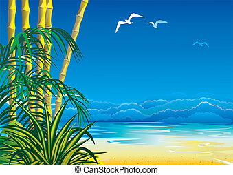 Jungle. - Jungle on the ocean background. Vector art-...