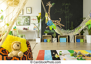 Jungle kids room with hammock