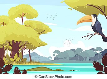 Jungle Landscape Cartoon Illustration