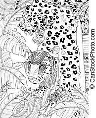 jungle leopard coloring page