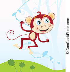 Jungle monkey - Funny animal jumping in jungle. Vector...