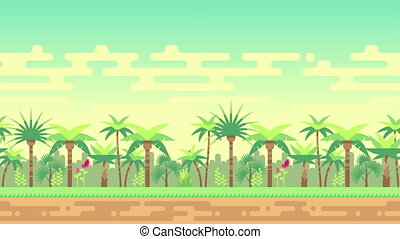 Jungle palm trees forest seamless loop landscape animation