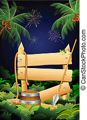 Jungle Party Banner - illustration of wooden plank and spear...