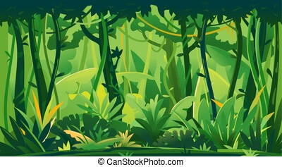 Jungle plants topical forest background - Wild jungle forest...