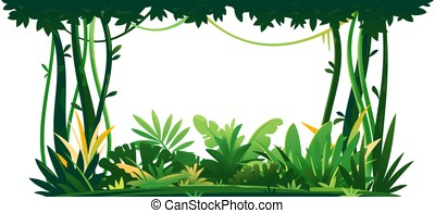 Jungle plants topical forest isolated composition - Wild ...