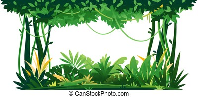 Jungle plants topical forest isolated template - Wild jungle...
