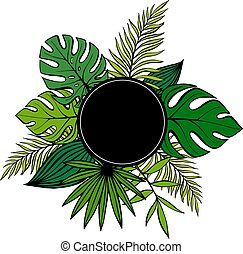 Jungle poster with black frame. Tropical plants of different shapes Leaves of palm vector drawing by hand. Designer blank background