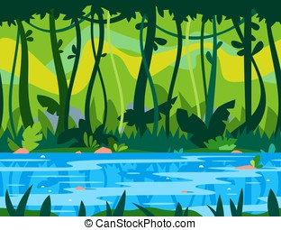 River flows through the jungle of big green trees overgrown with plants and lianas, nature game background, tileable horizontally