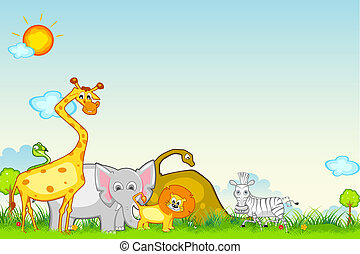 Jungle Safari - illustration of different animal in jungle ...