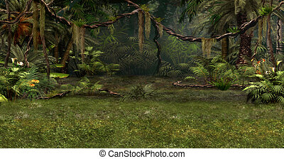 Jungle Scene - a magical landscape with lianas, flowers and...