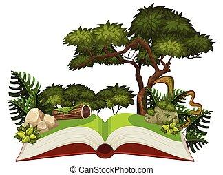 Jungle scene on a pop up book