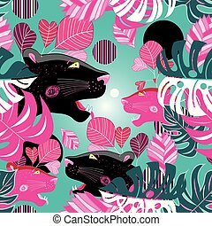 Jungle seamless vector multicolored pattern with portraits...