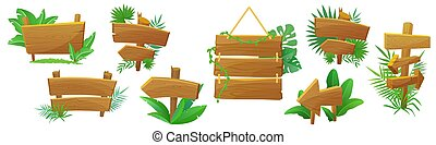 Jungle style exotic wooden arrow, signpost, pointer cartoon vector illustration set isolated. Standing and hanging natural wooden boards with tropical plants, green leaves and lianas