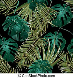Jungle thickets of tropical palm leaves. Seamless floral...