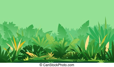 Jungle topical plants on green background - Wild jungle ...