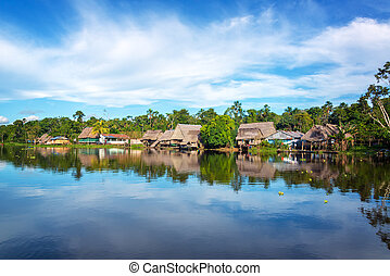 Jungle Town Wide Angle - Town on the shore of the Yanayacu...