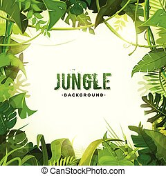 Jungle Tropical Decoration Background - Illustration of a...